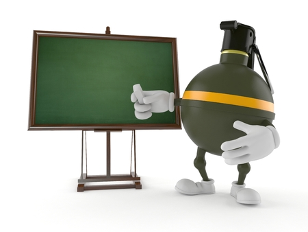 Hand grenade character with blackboard isolated on white background Banco de Imagens