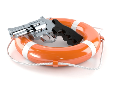 Gun with life buoy isolated on white background Stock Photo