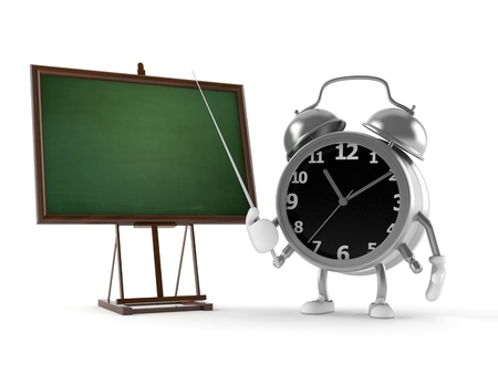 Alarm clock character isolated on white background