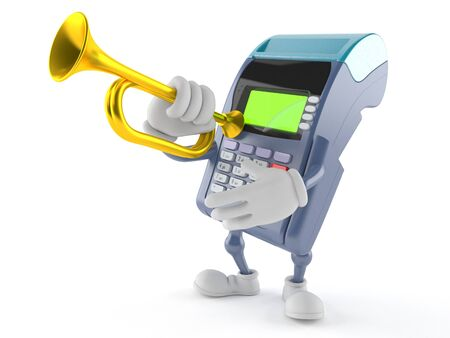 Credit card reader character playing the trumpet isolated on white background Stock Photo