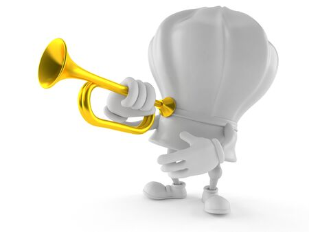 Chef character playing the trumpet isolated on white background