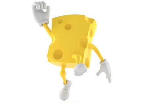 Cheese character jumping in joy isolated on white background