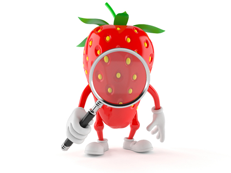 finding out: Strawberry character looking through magnifying glass isolated on white background