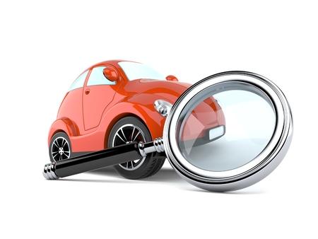 흰색 배경에 고립 된 돋보기와 자동차