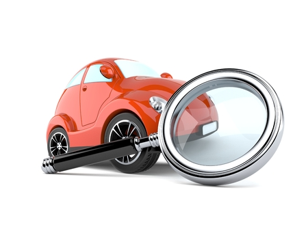 Car with magnifying glass isolated on white background