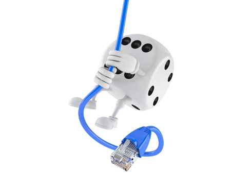 rj 45: Dice character swinging on network cable isolated on white background