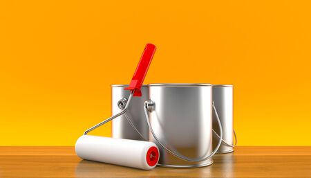 paintcan: Paint cans with paint roller on orange background