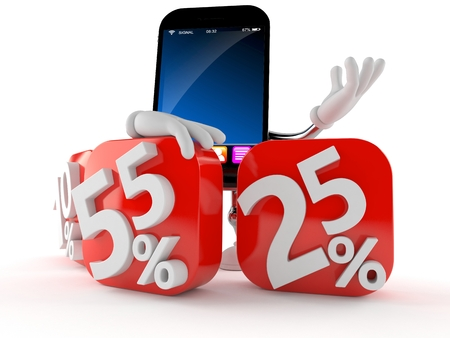 Smart phone character behind percentage signs isolated on white background