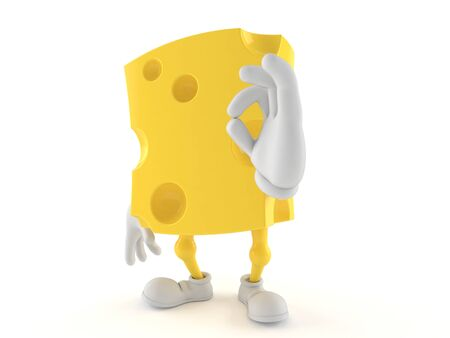 all ok: Cheese character with ok gesture isolated on white background Stock Photo