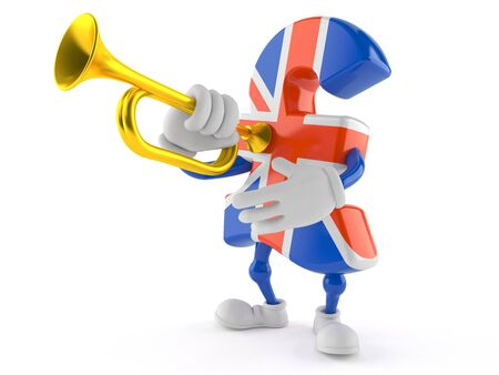 Pound currency character playing the trumpet isolated on white background
