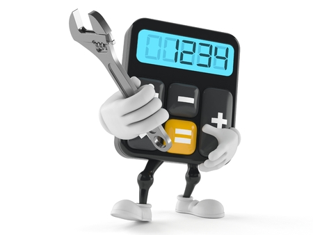 Calculator character holding adjustable wrench isolated on white background