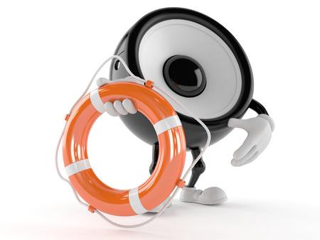 Speaker character holding life buoy isolated on white background Stock Photo