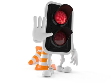 Red light character with traffic cone isolated on white background Stock Photo