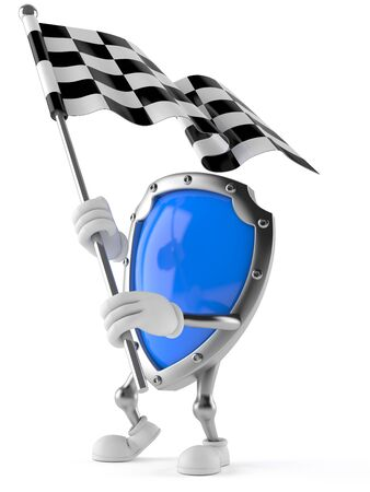 racing: Shield character with racing flag isolated on white background