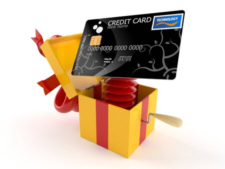 Gift with credit card isolated on white background