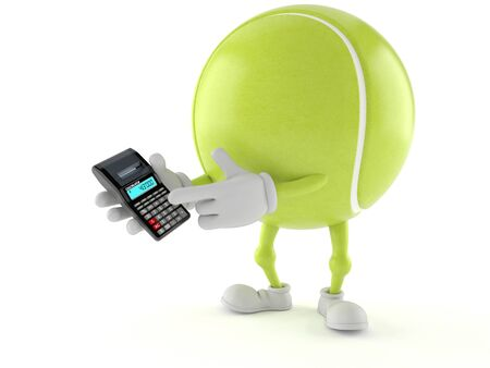 Tennis ball character holding calculator on white background