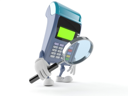 finding: Credit card reader character looking through magnifying glass isolated on white background Stock Photo