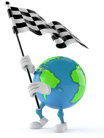 World globe character with racing flag isolated on white background