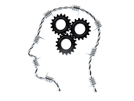 Gears inside human head isolated on white background