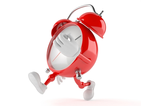 up time: Alarm clock character running on white background