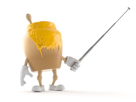 Honey jar character holding pointer stick isolated on white background
