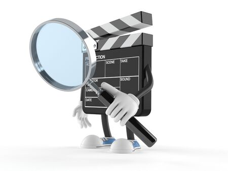 Film slate character looking through magnifying glass isolated on white background Stock Photo
