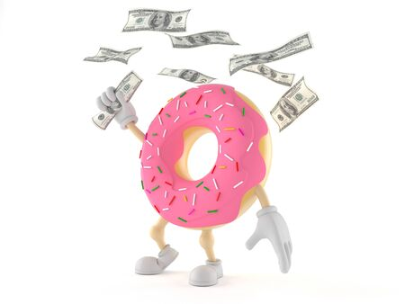 Donut character with money isolated on white background