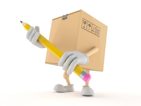 Package character holding pencil isolated on white background Фото со стока - 79609841