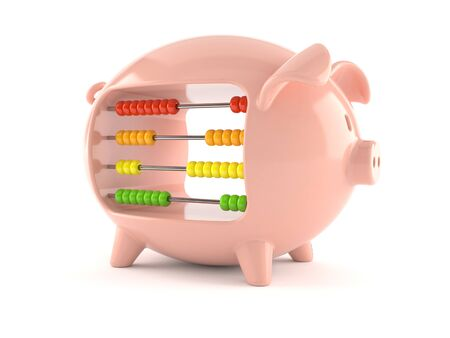 Piggy bank with abacus isolated on white background 免版税图像