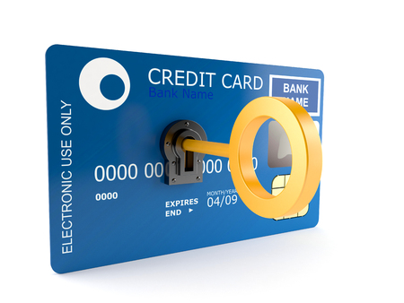 creditcards: Credit card with golden key isolated on white background