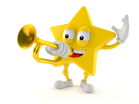 Star character playing the trumpet isolated on white background Stock Photo