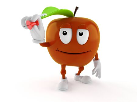 Apple character holding thumbtack isolated on white background