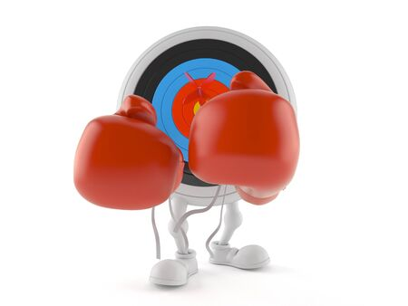 Bulls eye character with boxing gloves isolated on white background