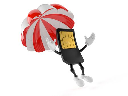SIM card character with parachute isolated on white background