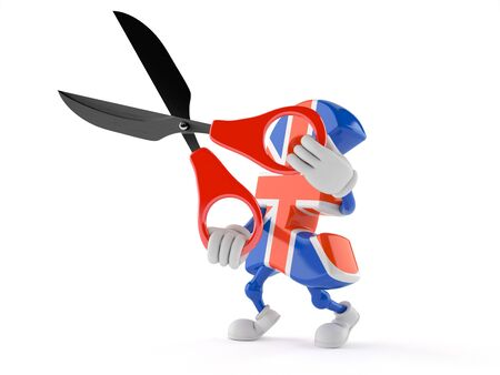 Pound currency character holding scissors isolated on white background Stock Photo