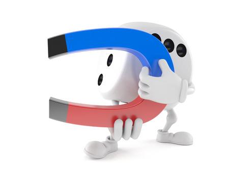 Dice character holding horseshoe magnet isolated on white background