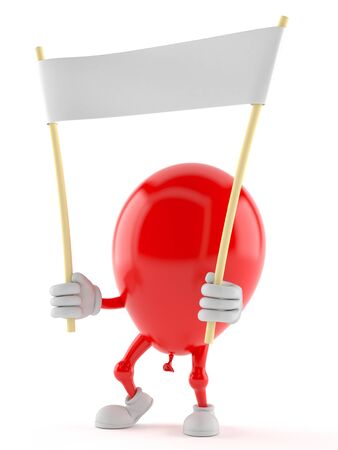 Balloon character holding blank banner isolated on white background