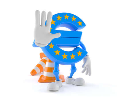 Euro currency character making stop gesture isolated on white background Stock Photo