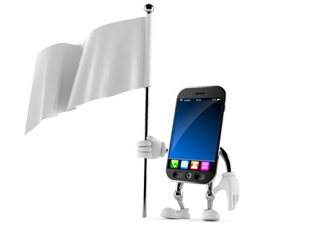 surrendering: Smart phone character holding white flag isolated on white background