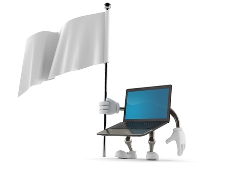 surrendering: Laptop character holding white flag isolated on white background