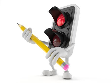 Red traffic light character holding pencil isolated on white background Фото со стока - 79583449