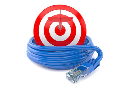 rj 45: Network cable with bulls eye isolated on white background
