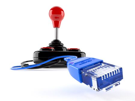 rj 45: Joystick with network cable isolated on white background