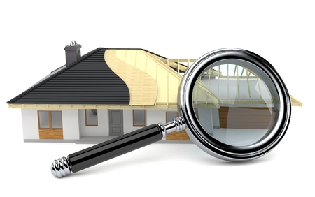 rafters: House plan with magnifying glass isolated on white background Stock Photo
