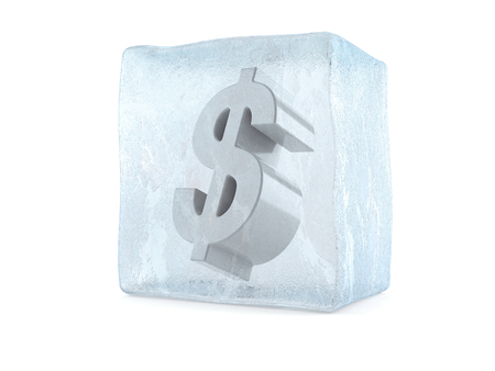 흰색 배경에 고립 된 아이스 큐브에 달러
