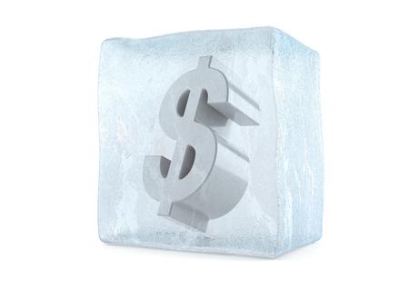 Dollar in ijsblokje op witte achtergrond wordt geïsoleerd die