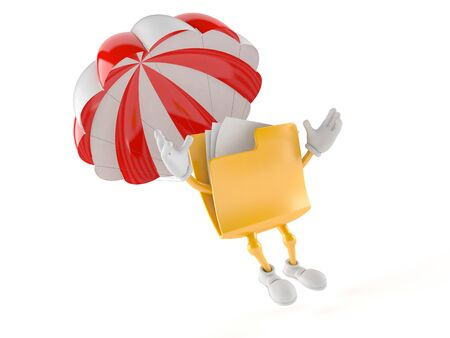 Folder character with parachute isolated on white background Stock Photo