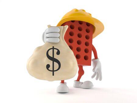 mason: Brick character holding money bag isolated on white background