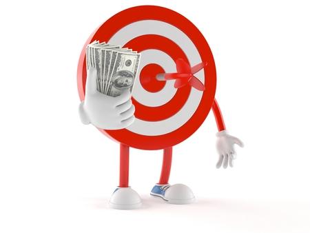 Bulls eye character with money isolated on white background Stock Photo