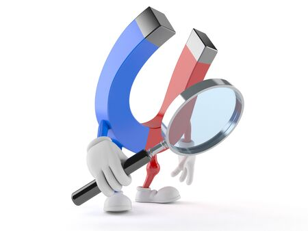finding out: Magnet character looking through magnifying glass isolated on white background Stock Photo